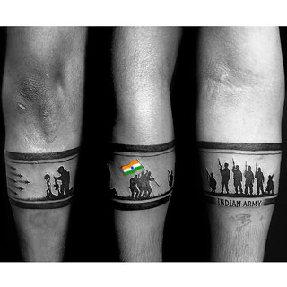 voorkoms Indian Army Hand Band Waterproof Temporary Tattoo For Boys  Girls Special on Independence day