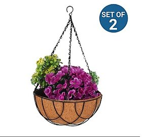 Style UR Home- Coir Hanging Basket 8 inch with liner - Set of 2