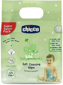 Chicco Soft cleansing wipes Tripack ( 216 pcs) (Sticker pack) (216 Wipes)