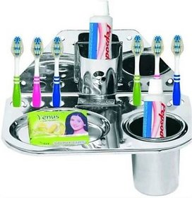 Love India Steel Toothbrush Holder (Silver, Wall Mount)