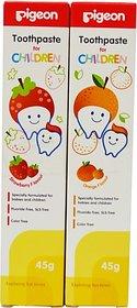 Pigeon Combo of Strawberry and Orange toothpaste 45g*2(Pack of 2) Toothpaste (90 g, Pack of 2)