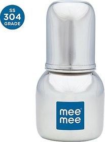 MeeMee Premium Steel Feeding Bottle - 120 ml (Silver)