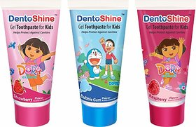 Dentoshine Gel Toothpaste for Kids - Pack of 3 Flavors (Strawberry, Bubble Gum's Raspberry, 80 g each) Toothpaste (240 g, Pack of 3)