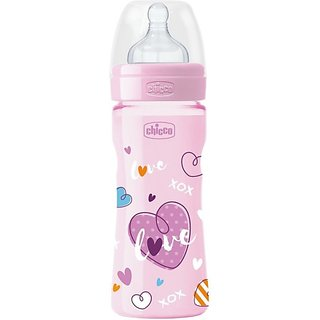 Chicco Bottle Wellbeing Pink 250Ml Sil Love In - 250 ml (Pink)