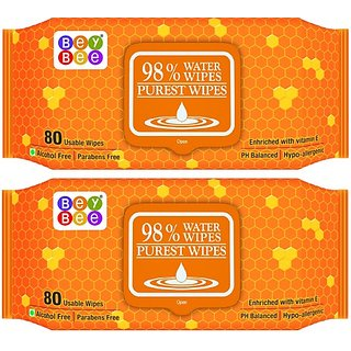 Bey Bee : Paraben Free 98% Water Based Baby Wipes For New Born Babies's Adults (Combo of 2 Pack) (160 Wipes)