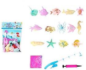 Emob 13 PCS Magnetic Aquatic Marine Animals Fishing Toy with Inflatable Tub Bath Toy (Multicolor)
