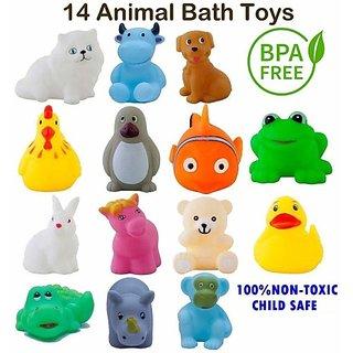 hinik Chu Chu Bath Toys 14Pc Non-Toxic Plastic Animal Shape Soft for Kids Bath Toy (Multicolor)