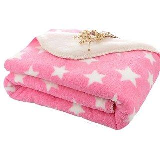 Brandonn Polka Single AC Blanket (Woollen Blend, BABY PINK)