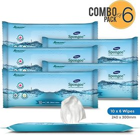 Dignity Spongee Body Wipes - 240X300 Pack of 6 - 60 wipes (60 Wipes)