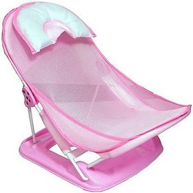 Honey bee Baby Quality Folding Anti-Slip Wash Chair With Soft Mesh / Deluxe Newborn Baby Bather / Bath Rack / Shower Chair For Newborn Babies Baby Bath Seat (Pink) Baby Bath Seat (Pink)