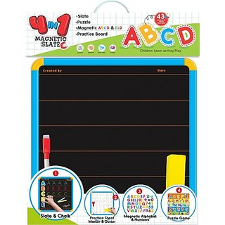 Itoys 4-in-1 magnetic slate with alphabets and numbers (Multicolor)