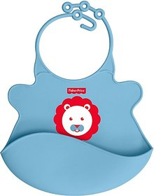Fisher-Price Ultracare Baby Bib with pocket-waterproof Feeding Bibs, 4months+. Ideal for weaning Babies (Blue) (Blue)