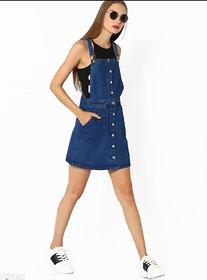 TNQ Womens Denim Slim Fit Dungaree Dress/Mini Dress (Sizes  L,XL,XXL)