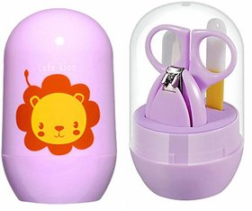 Chinmay Kids Baby Nail Scissors Gorgeous Trimmer Sets Safety Care Nail Cutter Nail Scissors Nails Suit Baby Nail Cutter Kit (4 in 1 Set) (Light Purple)
