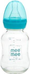 MeeMee Premium Glass Feeding Bottle_Blue - 120 ml (Multicolor)