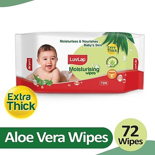 LuvLap Baby Moisturising Extra Thick Wipes with Aloe Vera, 72 wipes/pack