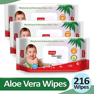 LuvLap Baby Moisturising Wipes with Aloe Vera,72 Wipes/pack, with lid (3 Wipes)