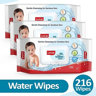 LuvLap Baby 99% Pure Water Wipes, 72 wipes/pack, Pack of 3 Combo (3 Wipes)