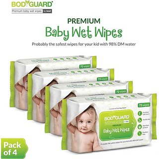 BodyGuard Premium Paraben Free Baby Wet Wipes with Aloe Vera - 288 Wipes (4 Pack, 72 each) (288 Wipes)