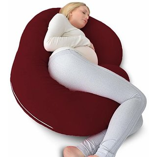 COMFYGENOUS Microfibre Solid Pregnancy Pillow Pack of 1 (Maroon)