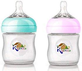 Kidzvilla Wide Neck Natural Glass Feeding Bottle for Infants (120ml, Pack of 2) - 240 (White, Pink, Blue)