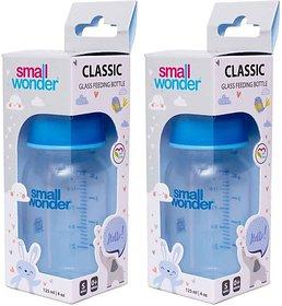 Small Wonder Borosilicate Baby Glass Feeding Bottle Pack of 2 - 125 ml (White)