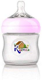 Kidzvilla Wide Neck Natural Glass Baby Feeding Bottle -120 ml - 120 (White, Pink, Green, Blue)