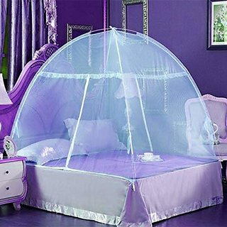 House of Quirk Single Door Double Bed Mosquito Net Tent Anti Mosquito Bites Folding Design with Net - Blue