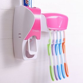 SSS - Automatic Toothpaste Dispenser with 5 Toothbrush Holder Set (Color:As per availability) Plastic Toothbrush Holder (Pink, Blue, Orange, Green, Wall Mount)