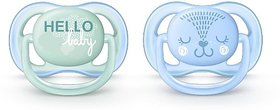 Philips Avent Pacifier for Boy, 0-6 Months, Blue/Green Fashion decos, 2 Pack Soother (Blue,Green)