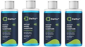 Delta Pack of 4 Semi Gel Type Sanitizer with 70% Alcohol, Neem, Aloevera and Tea Tree Oil (100ml*4) Hand Sanitizer Bottle (4 x 100 ml)