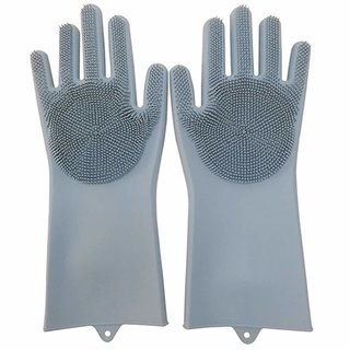 Fashion mystery Silicone Cleaning Reusable Heat Resistant Pair Magic Brush Gloves Scrubber for Kitchen Dishwashing Dish
