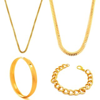 Gold Plated Neck Chain South India Brass Plated Combo with Bracelet and a Kada for Men Boys by GoldNera