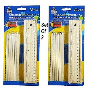 Color Pencils with Wooden Pencil Box  (2 Pcs )