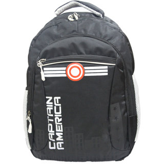 PROERA Black Captain America 25 Ltr Waterproof Polyester School/College Bag (Unisex)