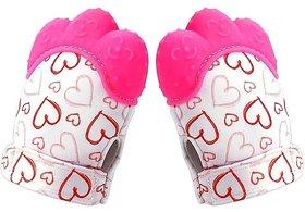 CHILD CHIC Baby Teething Mitten,Soft Food-Grade Silicone Teether Mitten Gloves (1PAIR/PINK)