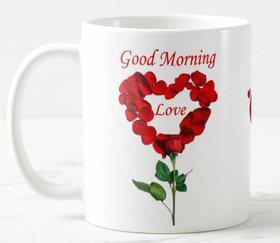 Good Morning Love Quotes Printed Ceramic White Coffee Mug Coffee mug 11oz Best Gift For Couple Girlfriend Birthday