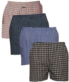 Men Check Multicolor Boxers Shorts (Pack of 4)