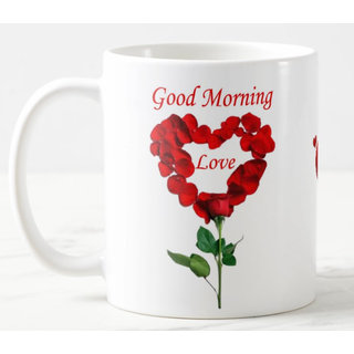 Good Morning Love Quotes Printed Ceramic White Coffee Mug Coffee mug 11oz Best Gift For Couple Girlfriend Birthday