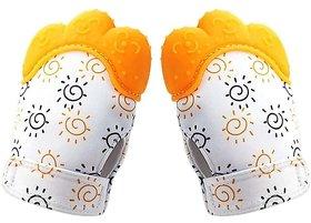 CHILD CHIC Baby Teething Mitten,Soft Food-Grade Silicone Teether Mitten Gloves (1PAIR/ORANGE)
