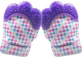 CHILD CHIC Baby Teething Mitten,Soft Food-Grade Silicone Teether Mitten Gloves (1PAIR/PURPLE)