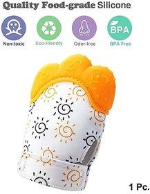 CHILD CHIC Baby Teething Mitten,Soft Food-Grade Silicone Teether Mitten Gloves (1PCS/ORANGE)