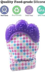 CHILD CHIC Baby Teething Mitten,Soft Food-Grade Silicone Teether Mitten Gloves (1PCS/PURPLE)