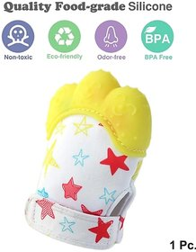 CHILD CHIC Baby Teething Mitten,Soft Food-Grade Silicone Teether Mitten Gloves (1PCS/YELLOW)