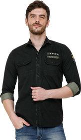 COLVYN HARRIS Men's Bottle Green Color Slim Fit Full Sleeves Cargo Double Pocket Shirt
