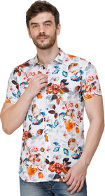 COLVYN HARRIS Men's White Color Regular Fit Half Sleeves Casual Shirt