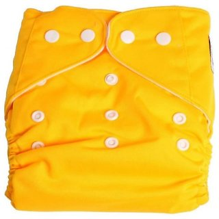 Child Chic Quirk Reusable Baby Washable Cloth Cotton Diaper (YELLOW)