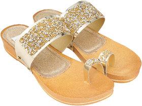 Edee Women Gold Flats Sandal