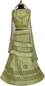 Dhanlaxmi Pista Silk Frill Embroidered Lehenga Choli For Women Semi Stitched