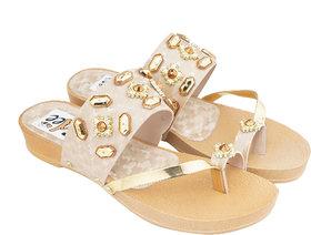Edee Women Fancy Beige Flats Sandal